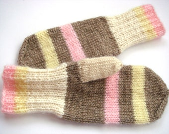Women Mittens, striped gloves, wool mittens, winter accessory