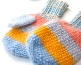 Rainbow Mittens, autumn, fall gloves, mitts, blue, yellow, orange mittens
