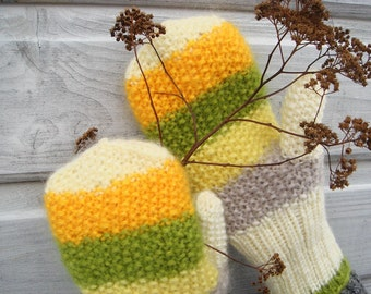 Yellow autumn mittens, fall fashion, winter accessory, gift
