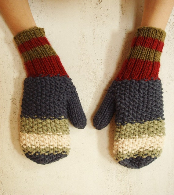 Rainbow Mittens warm knit-Gloves-arm warmers -(red, blue, creamy green) Gift under 50 for her
