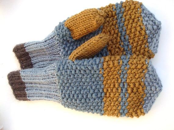 Mens mittens, blue knitted mittens, winter mittens, brown mens gloves