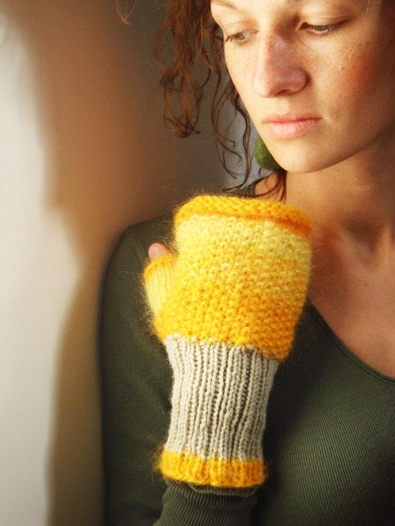 Yellow fingerless gloves, women gloves, fall, winter fashion