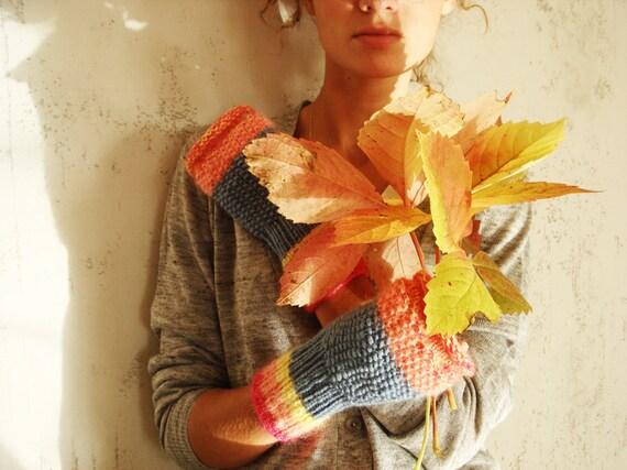 Autumn Fingerless Mittens, knitted fingerless gloves, arm warmers