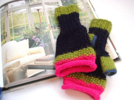 Pink gloves, fingerless gloves - arm warmers (dark blue, green, pink) Nice gift under 50