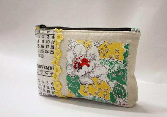 Zippered Purse Pouch-Touch of Vintage-Calendar Tea Towel