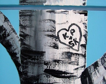 """Custom Order (Birch Trees) Acrylic Paintings with Birch Initials  Made to Order...Size 16"""" x 20"""""""