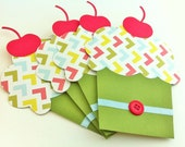 Green Multicolored Cupcake Shaped Cards
