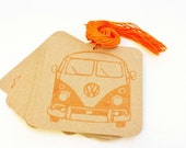 12 Orange Volkswagen Bus Gift Hang Tags