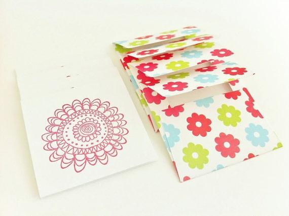 Floral, Spring Flower Mini Card and Envelope Set, Set of 4