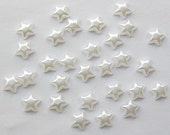 LAST PACK, 6mm White Faux Pearl Puffy Pearlized Star Flatbacks - 50 pcs