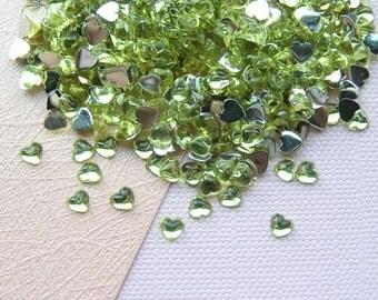 3mm YELLOW Heart Shaped Rhinestone Flatbacks - 500 pcs