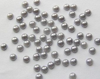 4mm Gray Faux Half Pearl Cabochons - 250 pcs