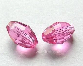 6 pcs ROSE Swarovski Crystal Barrel Beads 5200 10.5mm x 7mm Wholesale Destash