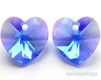 18 pcs SAPPHIRE AB Swarovski Heart Pendant Beads 6202 10mm Wholesale Destash