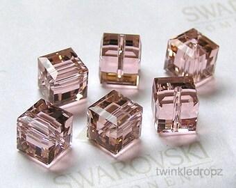 12 pcs VINTAGE ROSE Swarovski Crystal Cube Beads 5601 4mm Wholesale Destash
