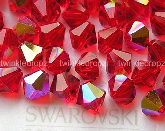 30 pcs LIGHT SIAM AB Swarovski Crystal 5301 6mm Bicone Beads Wholesale Destash