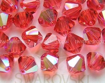 30 pcs PADPARADSCHA AB Swarovski Crystal 5301 6mm Bicone Beads Wholesale Destash