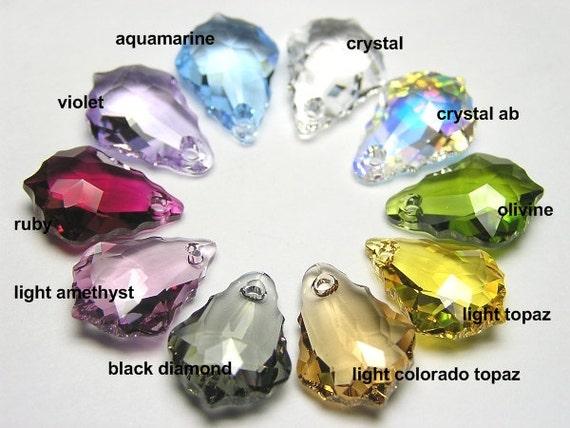 8 pcs JET Black and BLACK DIAMOND Swarovski Crystal 6090 16 x 11 mm Baroque Pendant Beads