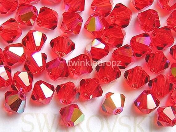 100 pcs LIGHT SIAM AB Swarovski Bicone Beads 5301 4mm Wholesale Destash