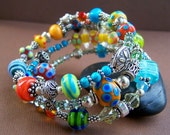 Reserved - Good Times - Glass Bead Wrap Bracelet