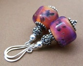 Satsuma Earrings - Borosilicate Glass Bead and Sterling Silver