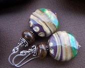 Maple Grove Earrings Lampwork Glass Beads with Sterling Silver