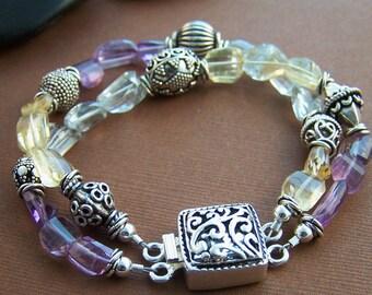 Aquarius Bracelet - Quartz and Sterling Silver Beaded Double Strand Bracelet