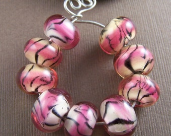 Destash Glass Pink Tiger Beads Lampwork Glass Beads