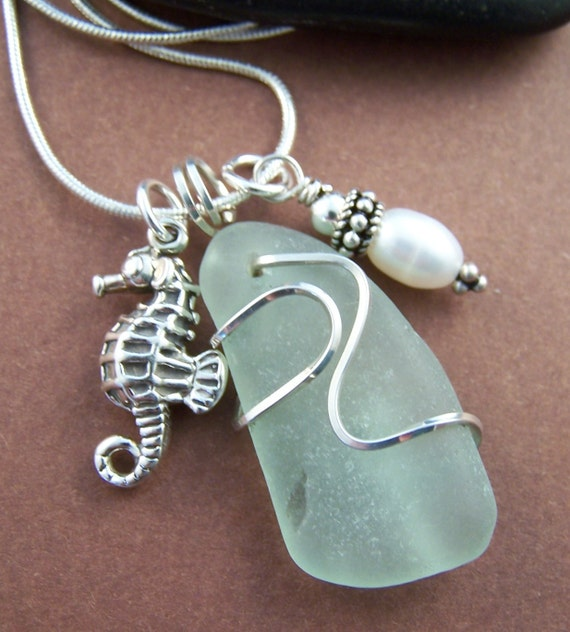 Paradise Cove Necklace - Wire Wrapped Sea Glass and Sterling Silver