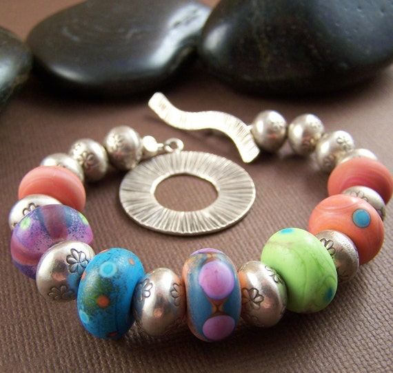 Softly Bracelet Etched Glass Bead Thai Sterling Silver Beaded Bracelet