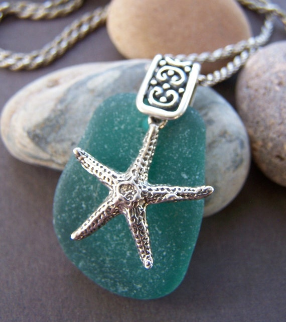 Bounty Sea Glass Pendant Sterling Silver Star Fish Necklace