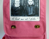 He Had Me at Hello - Vintage Photo on a Flamingo Cotton Canvas Field Bag