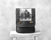Messenger Bag - Abraham Lincoln - Canvas Bag - Smoke Gray - Vintage Photograph at Antietam - Field Bag
