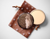 "Woodland Bunny - Mademoiselle Lapina   - Pocket Mirror - 2.25"" with a Pouch -  More info in ""Item Details"""
