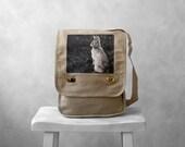 Messenger Bag - Woodland Bunny - Field Bag - School Bag - Stone Beige - Canvas Bag - Mademoiselle Lapina