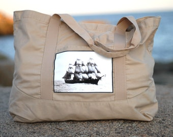 The Volage Canvas Bag - Vintage Photo on a LARGE Cotton Canvas Tote Bag
