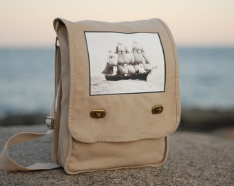 Messenger Bag - The Volage - Vintage Photograph - Nautical - School Bag -  Canvas Bag