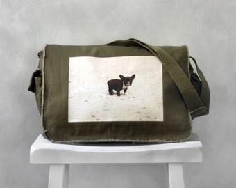 Baby French Bulldog Messenger Bag - Khaki Green - Canvas Bag
