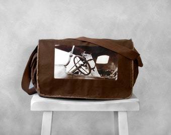 Messenger Canvas Bag - Sal the Driving Dog  - Java Brown - School Bag - Jack Russell