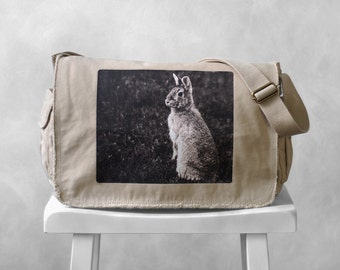 Messenger Bag - Woodland Bunny Photograph - Canvas Bag - Mademoiselle Lapina - School Bag