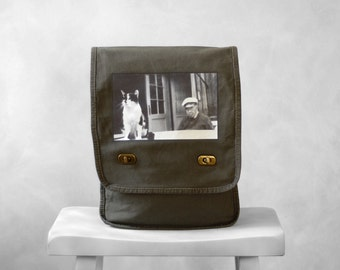 Messenger Bag - The Old Man and the Sea Cat - Vintage Photo - Field Bag - Khaki Green