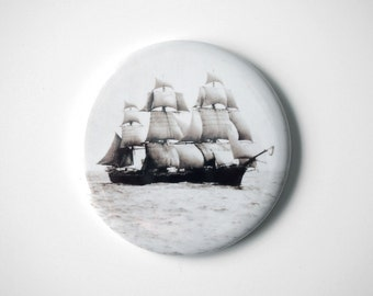 """The Volage in the Boston Harbor  - 2.25"""" Magnet - Vintage Photograph by Nathaniel Stebbins"""