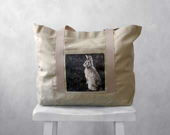 Canvas Bag - Woodland Bunny Photograph - Large Tote - Weekender - Stone Beige - Mademoiselle Lapina