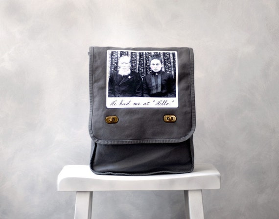 He Had Me at Hello - Vintage Photo on a Grey Cotton Canvas Field Bag
