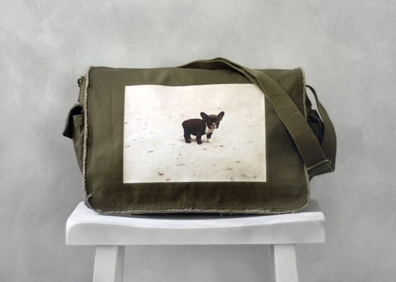 Baby French Bulldog Messenger Bag - Khaki Green - Canvas Bag