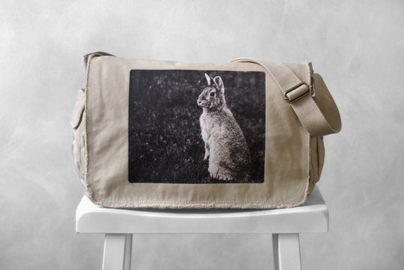 Messenger Bag - Woodland Bunny Photograph - Canvas Bag - Mademoiselle Lapina - School Bag