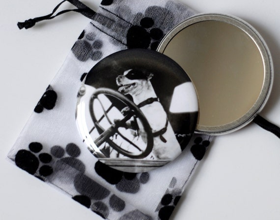 """Driving Dog - Pocket Mirror - 2.25"""" with a Pouch - Jack Russell Terrier"""
