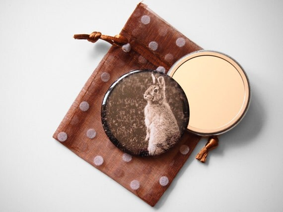 """Woodland Bunny - Mademoiselle Lapina   - Pocket Mirror - 2.25"""" with a Pouch -  More info in """"Item Details"""""""