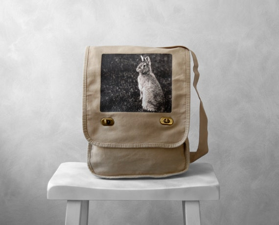Messenger Bag - Woodland Bunny - Field Bag - School Bag - Stone Beige - Canvas Bag - Mademoiselle Lapina