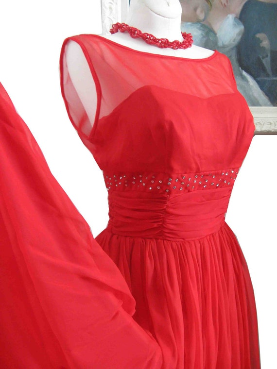 Red Chiffon 1950's  50's Cocktail Party Prom Dress with Rhinestones and Bows